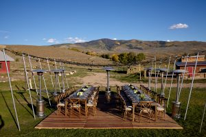 A beautiful setting for dinner at 4 Eagle Ranch in Wolcott. Event planned by DSC, photo by Gaston Photography.