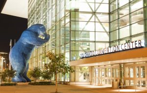 The famous Blue Bear sculpture outside the Colorado Convention Center. Photo by Scott Dressel-Martin.