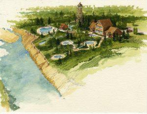 Concept sketch for Iron Mountain Hot Springs.