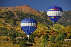 A beautiful day in Snowmass filled with sunshine, blue skies and hot air balloons. Photo courtesy of Snowmass Tourism.