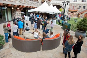 Receptions like this one on Madeline Hotel and Residences' patio during the Colorado Governor's Tourism Conference are perfect places for selfie stations.