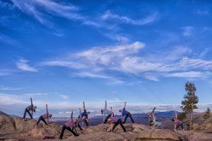 Outdoor yoga at Hartman Rocks in Gunnison with Sanctuary Studio. Photo by Matt Burt