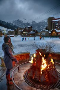 Bonfire near the skating rink at Copper Mountain Resort. Photo by Tripp Fey