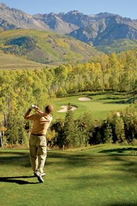 Teeing off from above at Telluride Golf Club. Courtesy Telluride Ski & Golf.