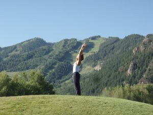 Getting the day started right with yoga. Courtesy of Aspen Meadows Resort.