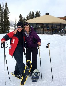 Snowshoeing to the Umbrella Bar during Full Moon at Ten Peaks at Crested Butte Mountain Resort. Courtesy Beth Buehler.