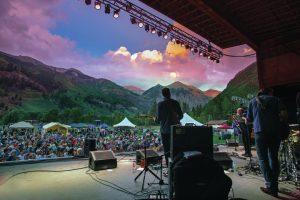 Outdoor Telluride concert surround by a scenic wonderland. Photo courtesy of Telluride Ski Resort/Ryan Bonneau.