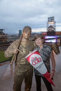 A live sculpture at Coors Field provided plenty of photo opportunities for guests. Photo by Jensen Sutta.