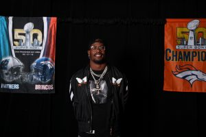 Von Miller, fresh off the Denver Broncos' 2016 Super Bowl win, attends a gala dinner during a group's Beaver Creek incentive trip. Courtesy Operation Altitude.