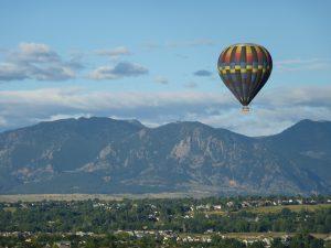 Hot air balloon ride with the Flatirons as a backdrop. Courtesy of Boulder CVB.