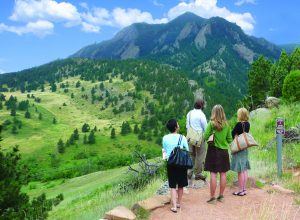 A group getting a breath of fresh air on the NCAR Weather Trail. Photo by Rich Grant.