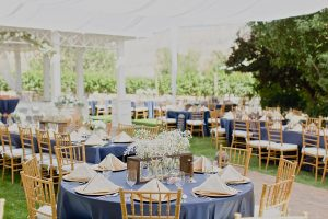 A vineyard reception set up and ready for guests. Courtesy Wine Country Inn.