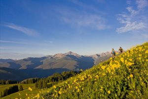 Vail Valley mountain biking in fields of wildflowers. Courtesy Vail Valley Partnership.