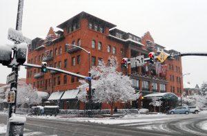 Snowy winter wonderland at Hotel Boulderado. Courtesy Hotel Boulderado.