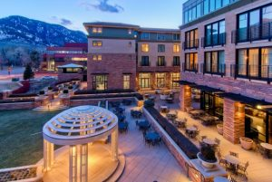 Reception guests will love being outdoors on St Julien Hotel and Spa's back terrace.