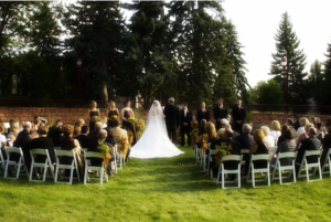 University of Denver has beautiful lawns for ceremonies and indoor spaces for receptions.
