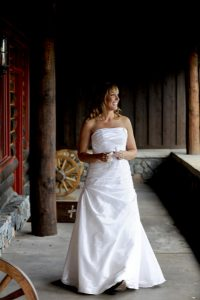 Rustic elegance can include a bride wearing cowboy boots. Courtesy Devil's Thumb Ranch.