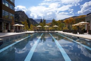 A large pool and deck is the perfect place for families to gather at The Western Riverfront Resort & Spa at Beaver Creek Mountain.