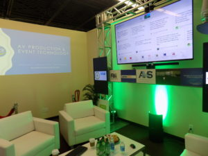 A more intimate version of a social media lounge complete with lighting and audiovisual.