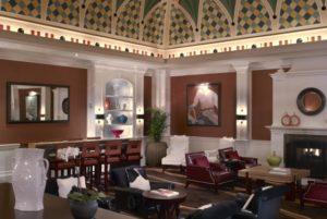 Hotel Monaco Denver's colorful lobby ceiing and urban Western decor. Courtesy Hotel Monaco.