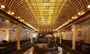Hotel Boulderado's Mezzanine is capped with a stunning stained glass ceiling. Courtesy Hotel Boulderado.