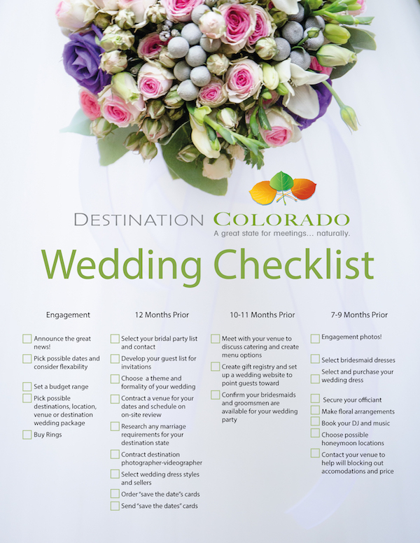 Colorado destinations weddings planning and checklist colorado destination wedding checklist junglespirit Images